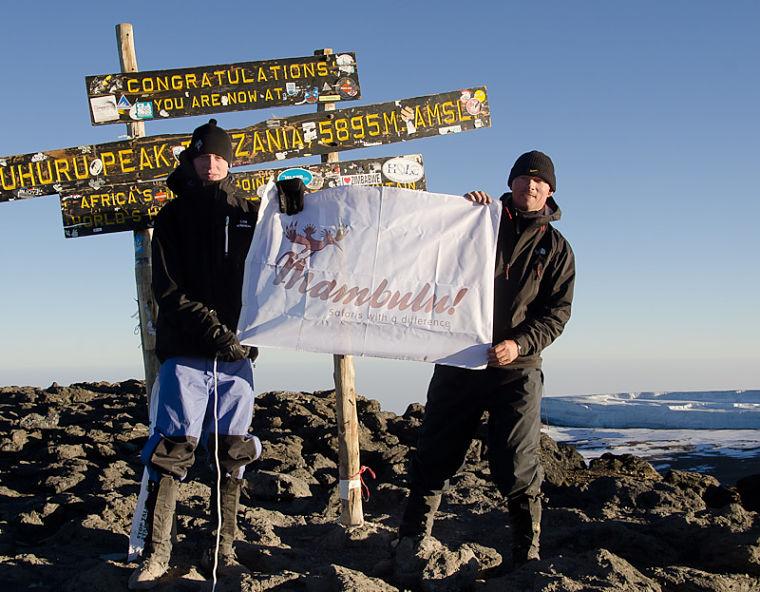 Op de top van Mt Kilimanjaro Tanzania