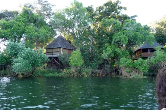 Lodge aan de Zambezi rivier bij Livingstone Zambia