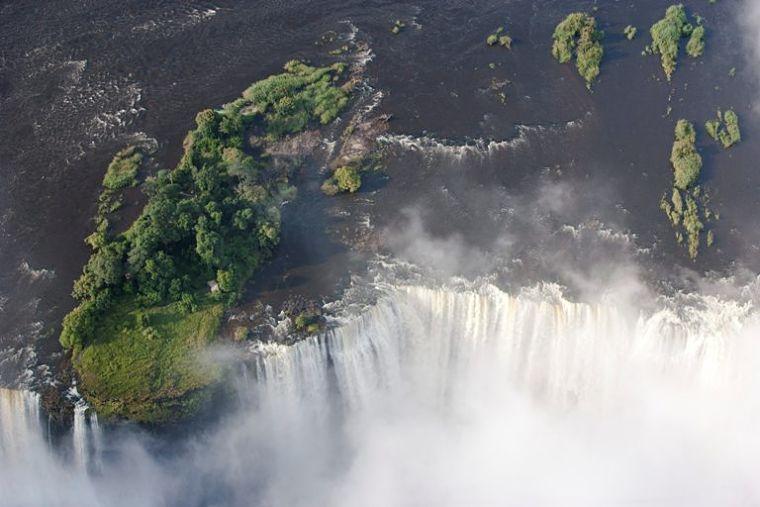 Victoria watervallen vanuit de lucht Livingstone Zambia