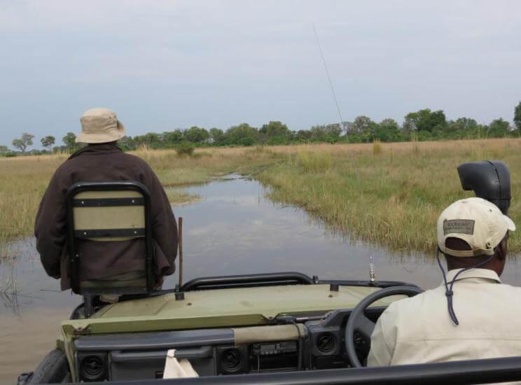 Game drive in Kwando concessie Okavango Delta Botswana