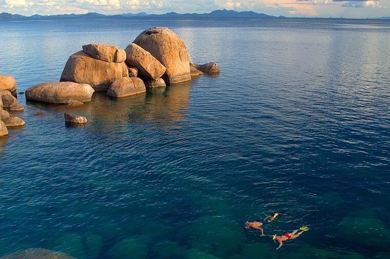 Snorkelen bij Nankoma Island Lake Malawi