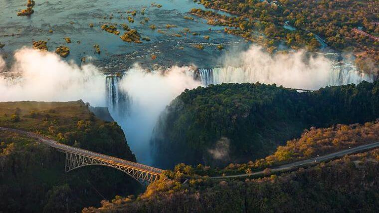 Victoria watervallen uit de helikopter