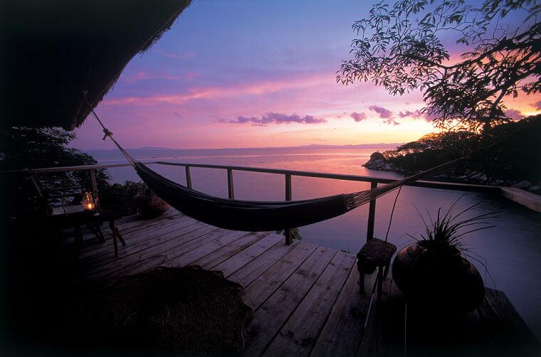 Zonsondergang bij Mumbo Island Lake Malawi