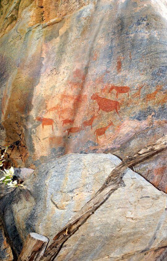 Tsodilo Hills rotstekeningen Botswana