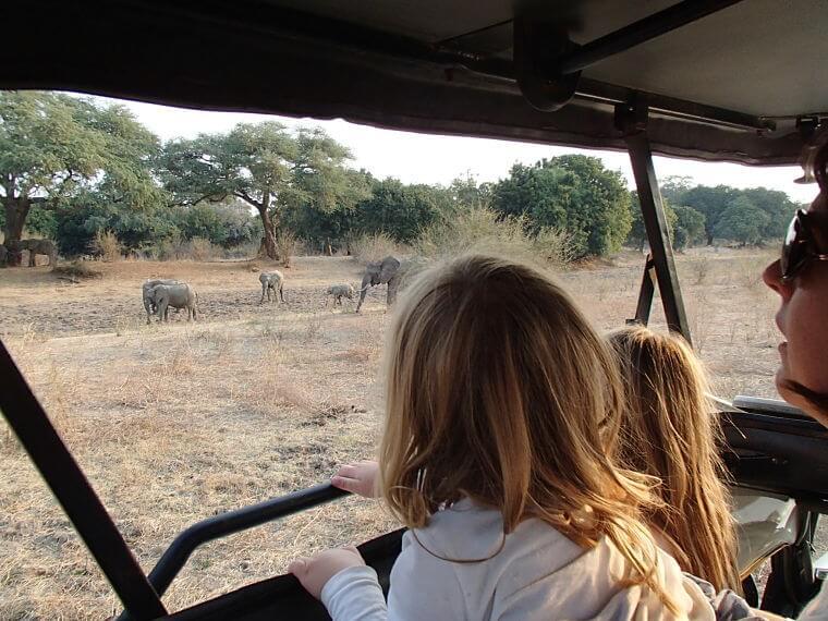 Op safari in Zambia met de klein kinderen