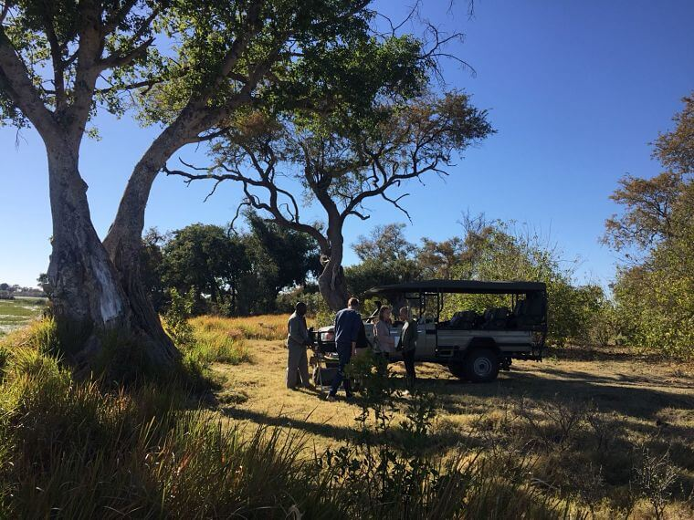 Familie Tamsma tijdens game drive in Okavango Delta