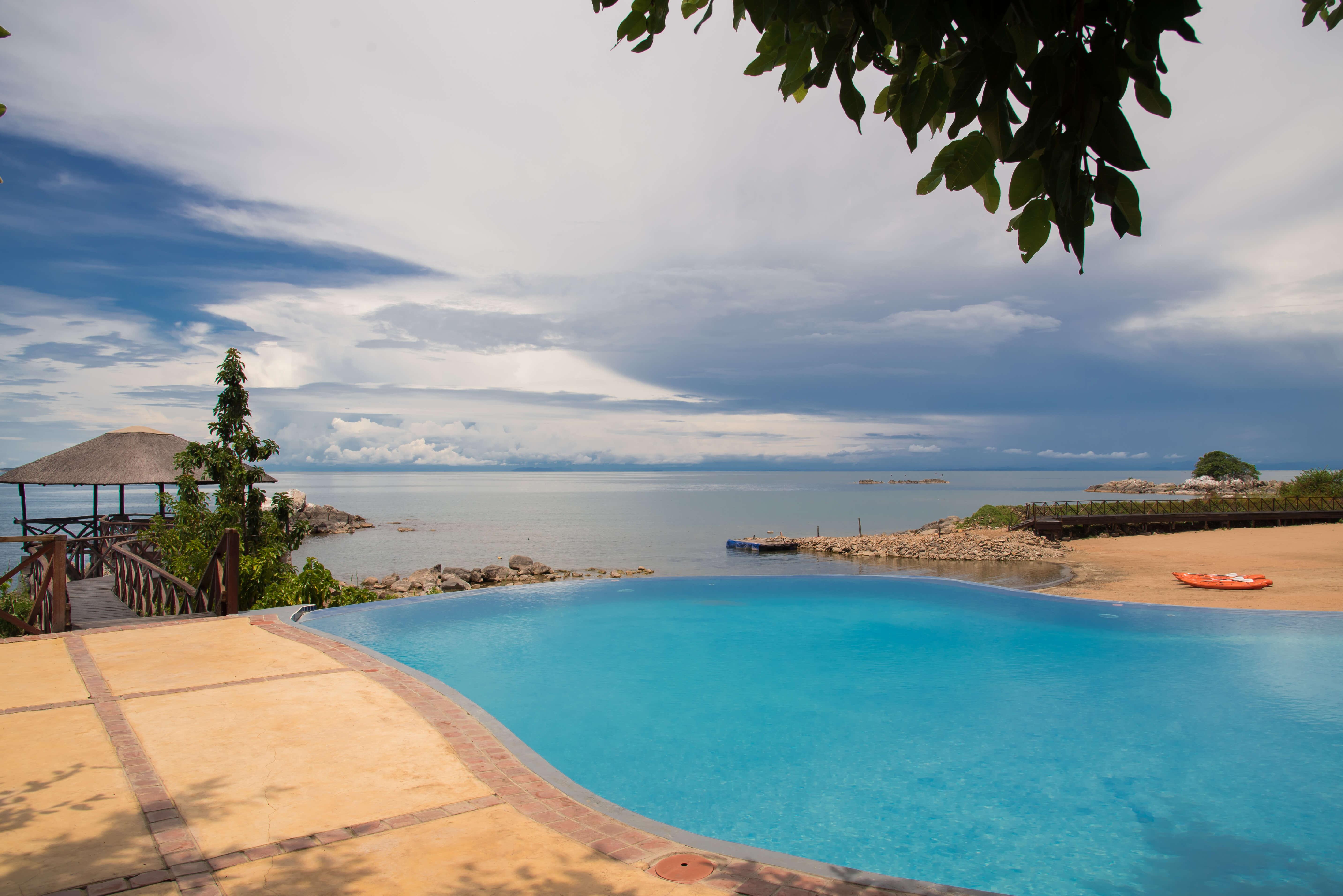 Zwembad Blue Zebra Island Lodge Malawi