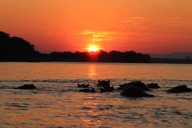 Zonsondergang boven Lower Zambezi Zambia