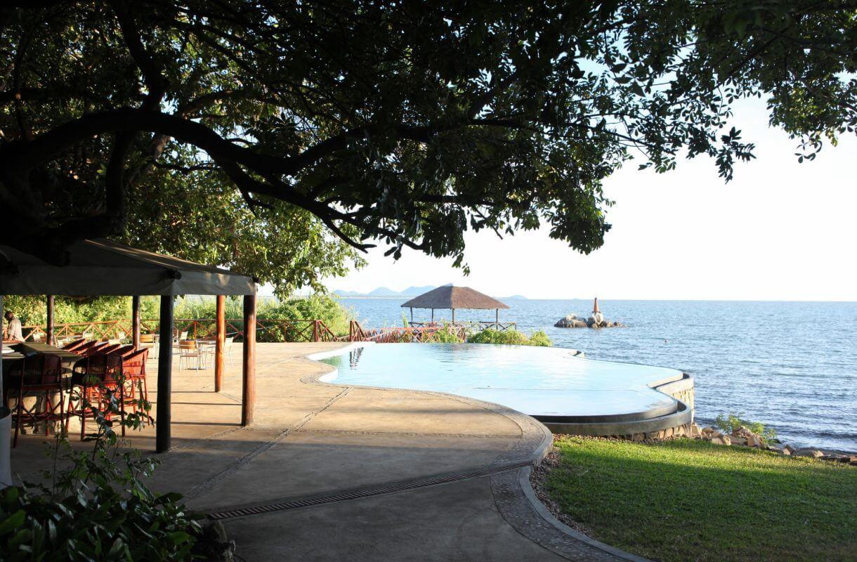 Zwembad Blue Zebra Island Lodge Lake Malawi