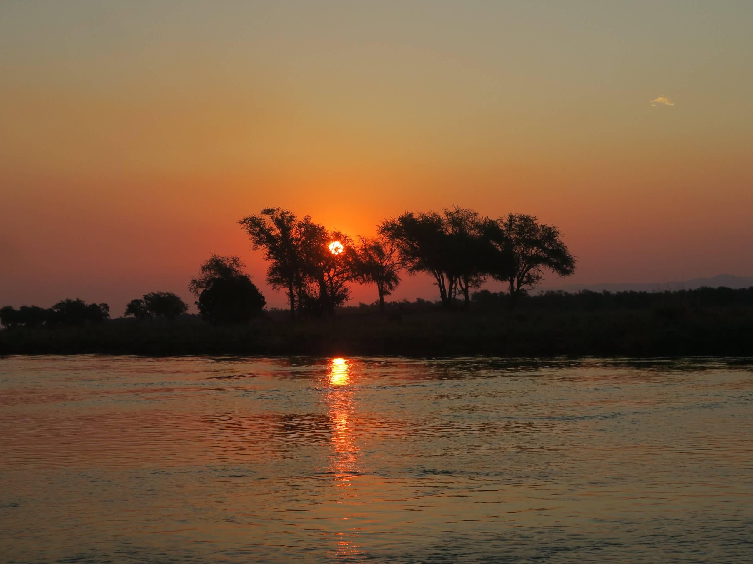 Lower Zambezi zonsondergang