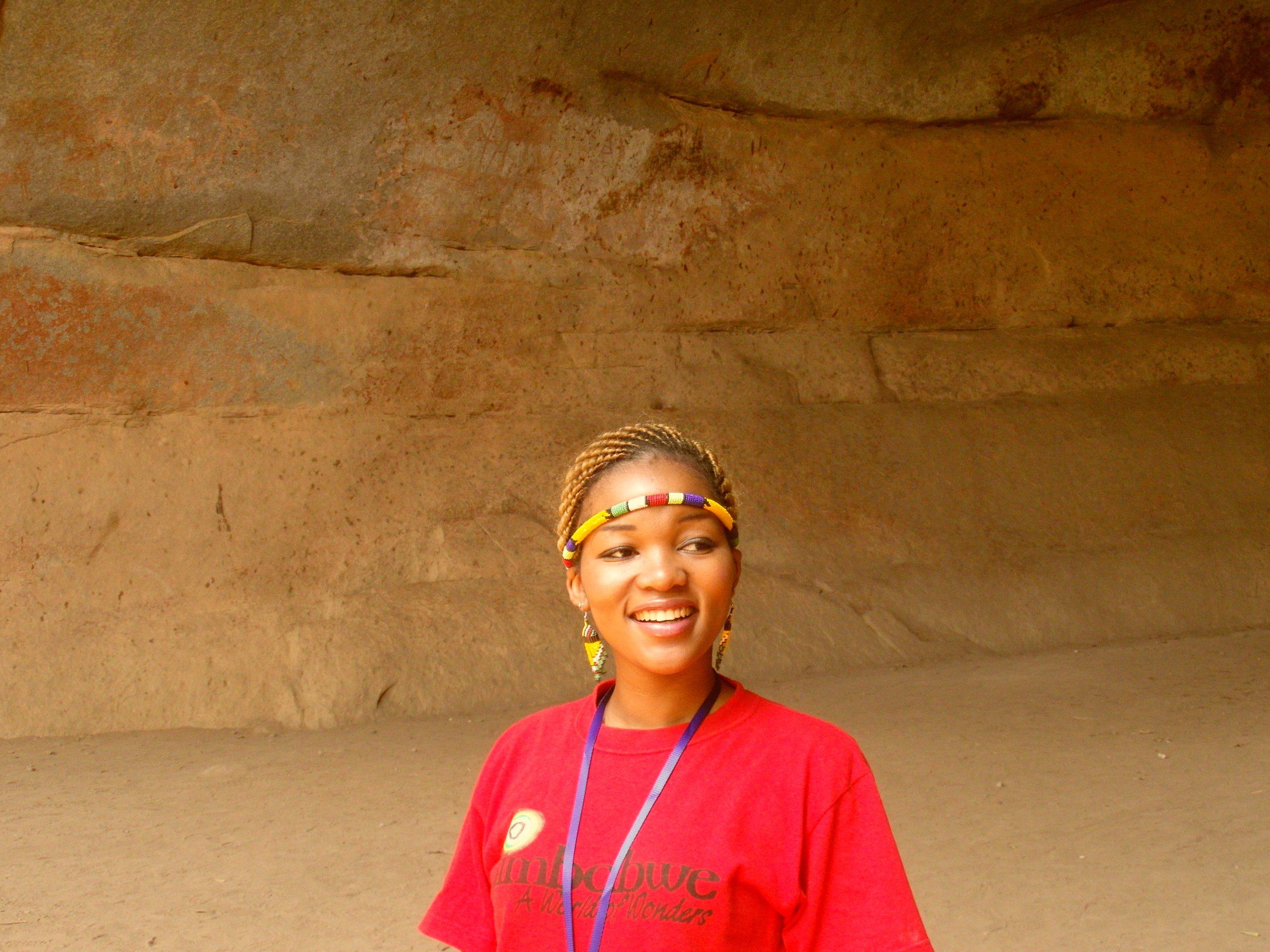Gids bij Motopo Hills, Zimbabwe