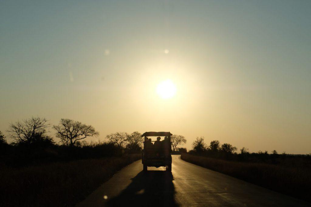 Kruger National Park, zonsondergang met auto, Zuid-Afrika