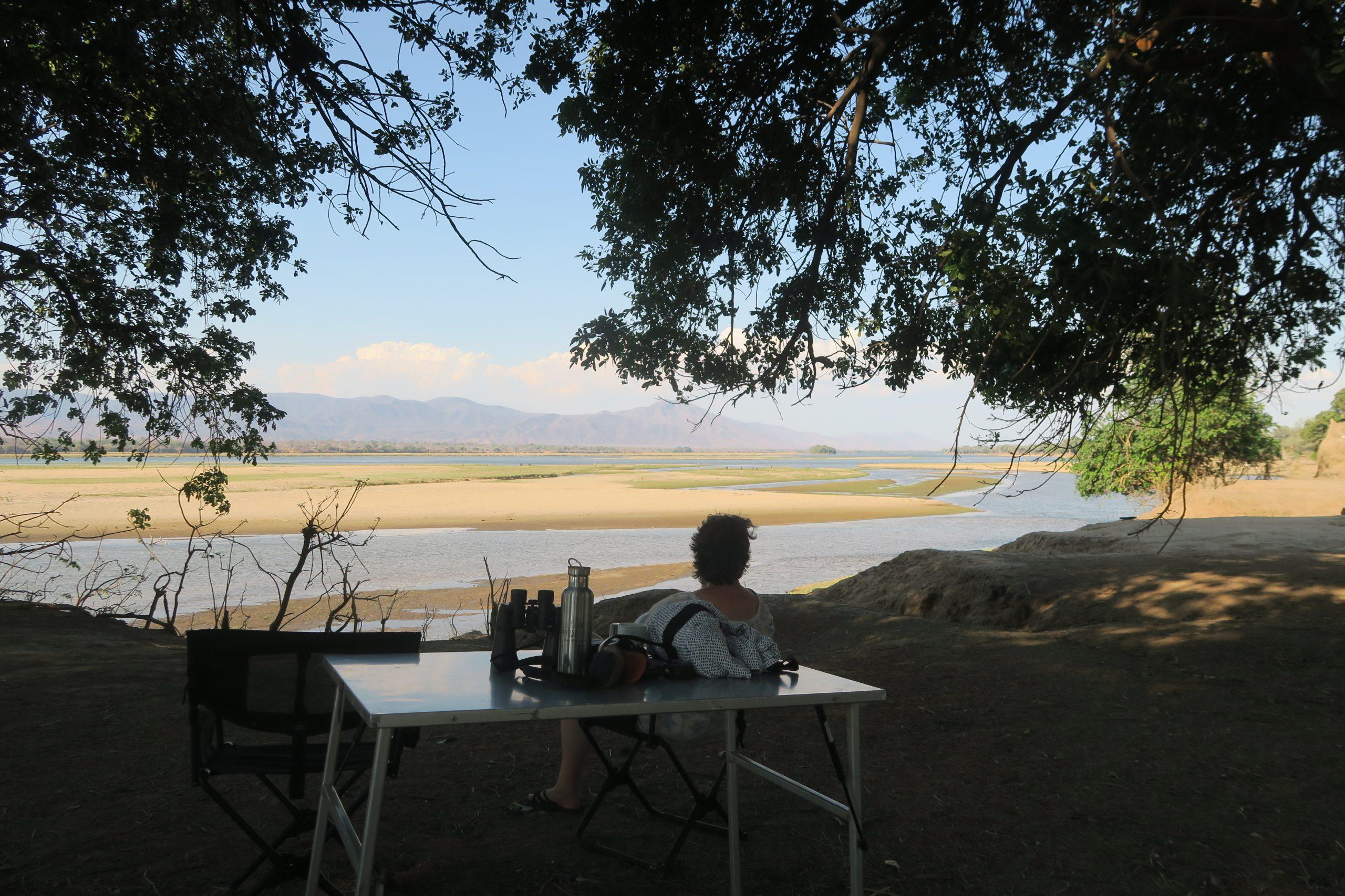 Safari Zambia Zimbabwe 2019, Uitzicht vanaf campsite Mana Pools, Zimbabwe