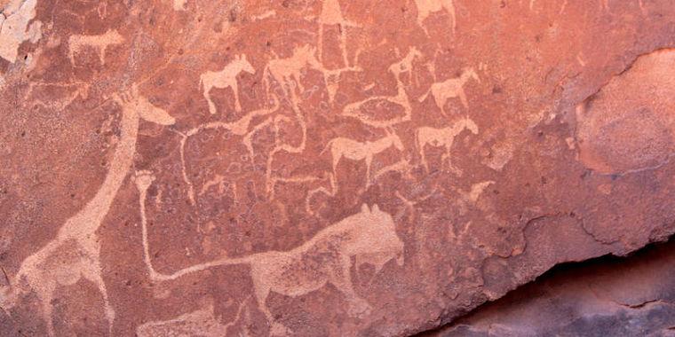 Rotstekeningen bij Twyfelfontein, Namibië