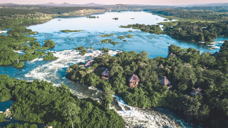 Lemala Wildwaters Lodge op eiland in de Nijl Uganda