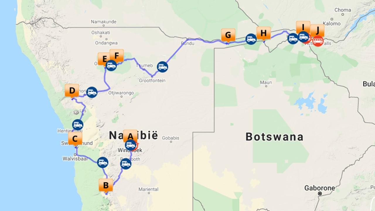 Selfdrive van Windhoek naar Victoria Falls - 21 dagen