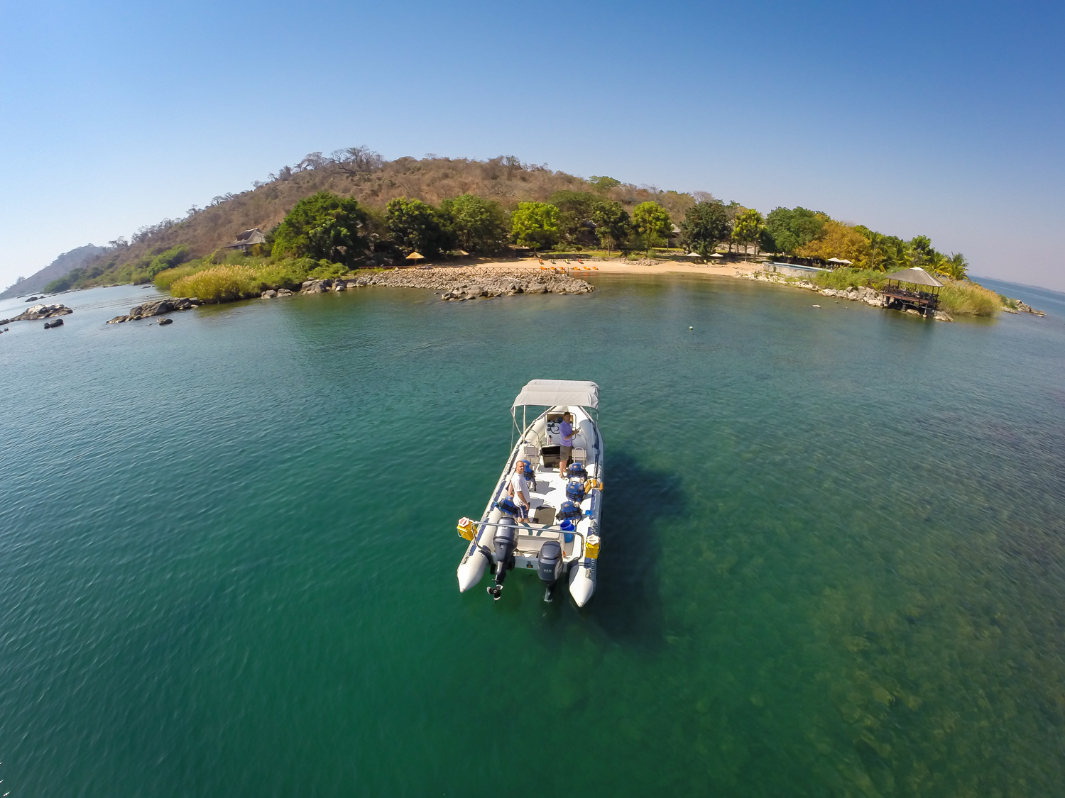 Aankomst Blue Zebra Islands Lodge Lake Malawi