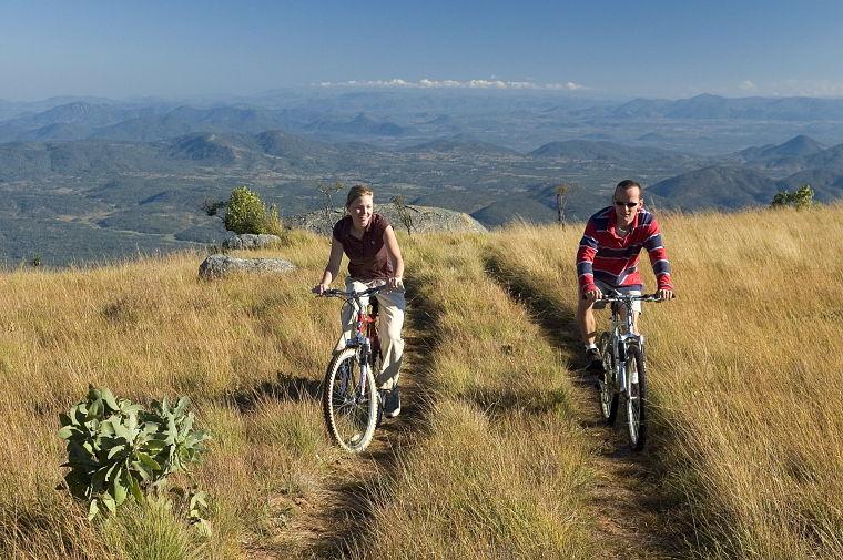 Mountain biken in Nyika Plateau National Park Malawi