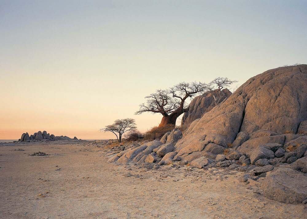 Kubu Island Botswana bij zonsondergang