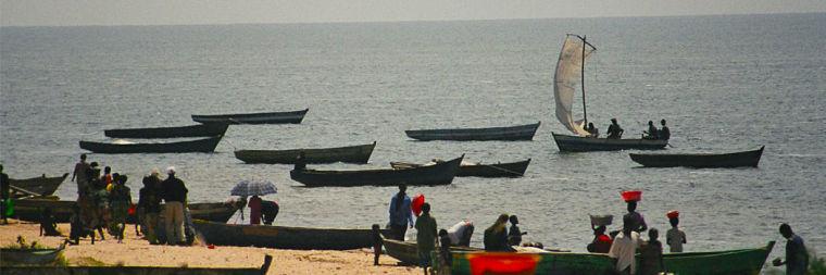 Lokale vissers op Lake Mweru Zambia