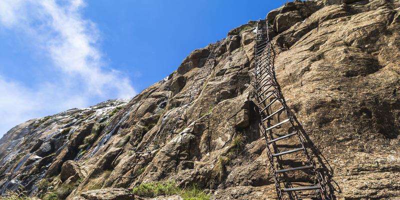 Klimtraject in Drakensbergen Zuid-Afrika