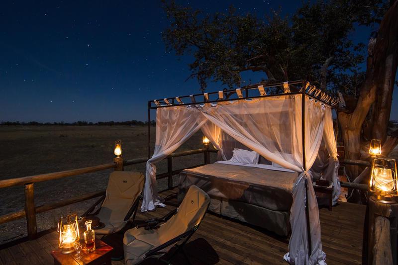 Sleep out Deck bij Kanana in Okavango Delta Botswana