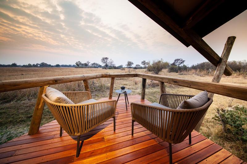 Uitzicht vanaf privé veranda Splash Camp in Okavango Delta Botswana