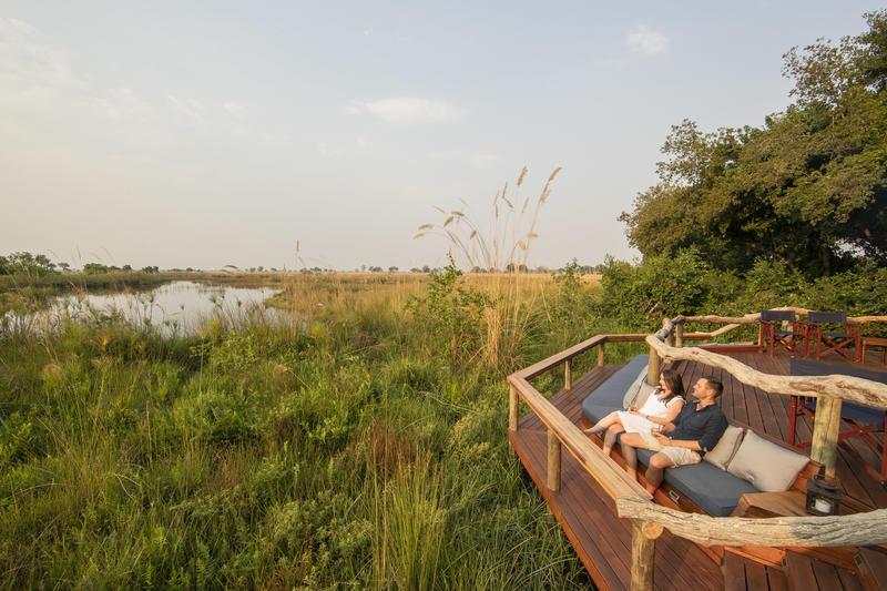 Uitzicht vanuit Shinde op Okavango Delta Botswana